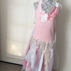 Fairy Dress Handcraft Pink Sz M/ L Mixed Fabric